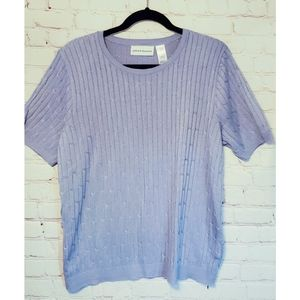 Alfred Dunner Purple Twisted Ribbed Sweater L